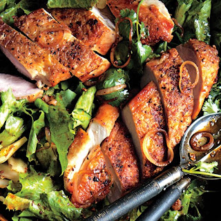 Crispy Chicken Breasts with Chermoula and Escarole Recipe