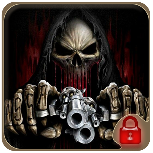 Gun shooting skull theme