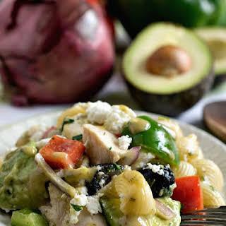 Avocado Chicken Pasta Salad.