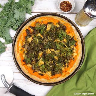Vegan Kale and Sweet Potato Pizza