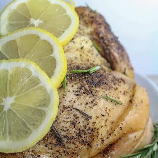 Whole 30 Lemon Rosemary Crockpot Whole Chicken.