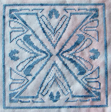 "Photo: Completed 9 November 2009. Black & White by Dessins DHC. Stitched on 32ct a Solo Mini Lugana from Silkweaver using The Gentle Art ""Blue Jay"". Stitch count: 100w x 100h."