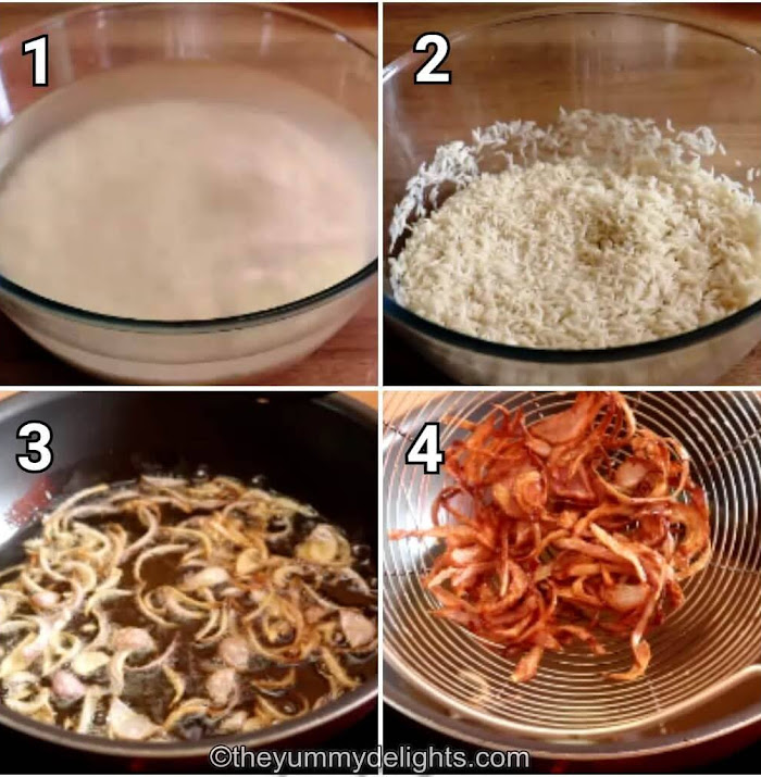 step by step collage of soaking the rice & preparing birista