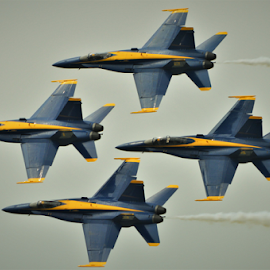 4Left by Benito Flores Jr - Transportation Airplanes ( blue angles, texas, diamond, navy, air show,  )