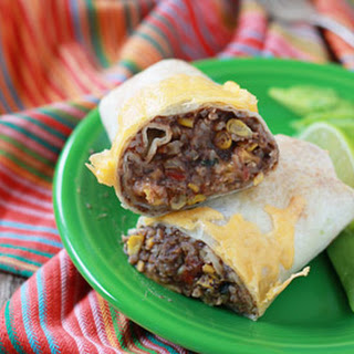 Easy Refried Bean and Cheese Burritos with Optional Chicken.