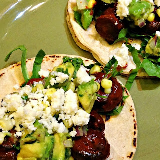 Garlic-Ancho Mushroom Tacos with Corn and Avocado Salsa