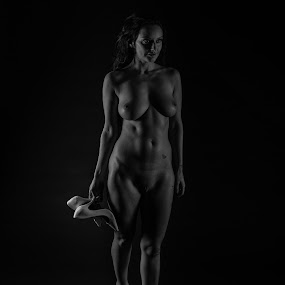 Lonely walk by Vincent Yates - Nudes & Boudoir Artistic Nude ( beautiful, nude, black and white, artistic nude, shoes )