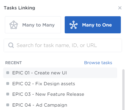 task linking in EPIC list