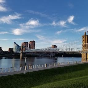 John A Roebling Suspension Bridge by Karen Harris - Buildings & Architecture Bridges & Suspended Structures ( brudge, covington, ohio river, cityscape, river )