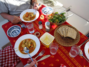 Photo: Diana has baked bread and prepared a stew for the first day at sea