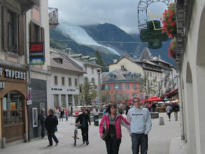Photo: The pretty French town of Chamonix (elevation 3,379 ft.) lies in a valley at the foot of Mt. Blanc (hidden in clouds above). A glacier tumbles down the side of Mt. Blanc almost into town!