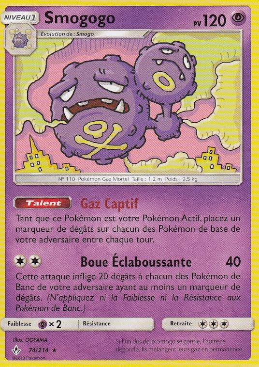Pokemon-Karte Neu Französische 74//214 Smogmog SL10: Alliance Infallible