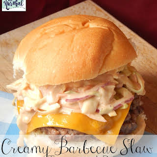 Creamy Barbecue Slaw Topped Burgers.