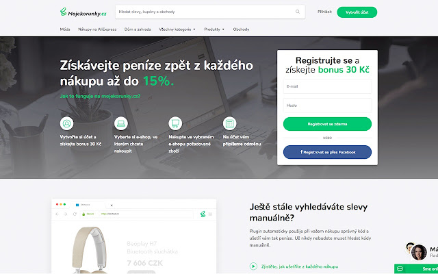 Mojekorunky.cz - cashback rozšíření