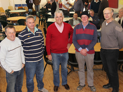 Former Deputy Prime Minister John Anderson, centre, was joined by a big crowd at the breakfast including Tim Baxter of Narrabri Anglican Church, Andrew McClenaghan, Graeme Rapp and Peter Mirtschin.