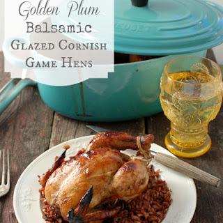 Golden Plum Balsamic Glazed Cornish Game Hens