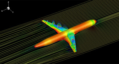 Photo: 24. Transonic shock buffet on large transport aircraft.  Dr Fulvio Sartor, University of Liverpool School of Engineering.  Transonic flow field around a wing-body configuration representative of a large transport aircraft at flight conditions. The image is a snapshot of an unsteady computational fluid dynamics simulation run on ARCHER. The aircraft surface is coloured by the air pressure. The slices on the wings indicate the velocity field in the supersonic zone of the flow. Streamlines coloured by the velocity magnitude give an idea of the flow direction around the aircraft.