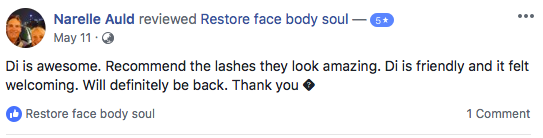 Tesimonial for Lucious Lash Lift at Restore Face Body Soul in Nowra.