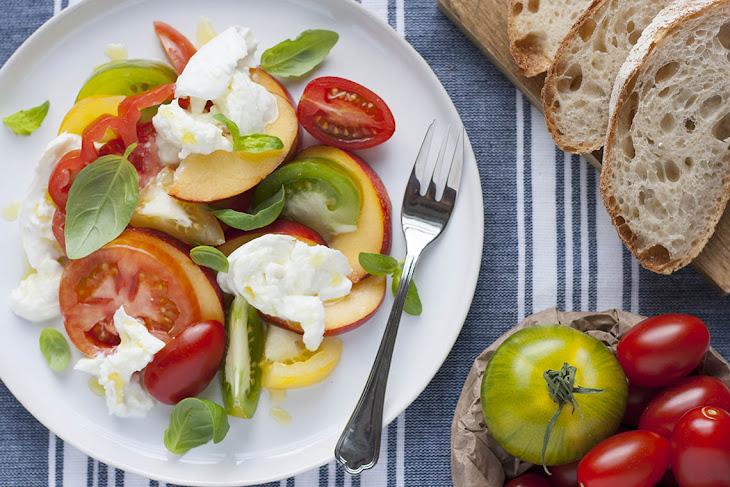 Nectarine, Tomato, Mozzarella Salad