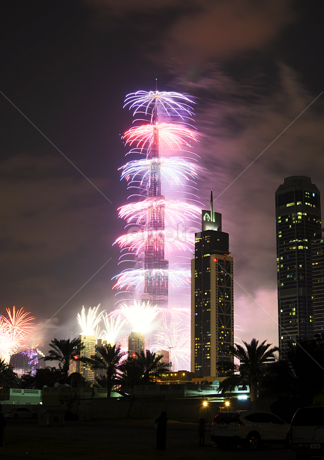 Fireworks at Burge Khalifa 2013 by Jbern Eugenio - Public Holidays New Year's Eve ( landmark, building, fireworks, night, places, nikon, landscape )