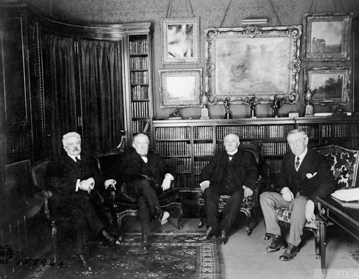Italian Prime Minister Vittorio Orlando, British Prime Minister David Lloyd George, French Prime Minister Georges Clemenceau and President of the United States Woodrow Wilson meet in Paris to negotiate peace treaties following the end of combat, 27 May 1919.