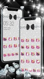 Diamond Pink Kitty Gold Bowknot Theme - náhled