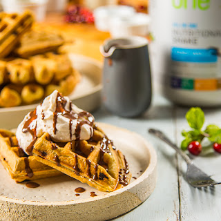 Cranberry Waffles with Coconut Mint Whipped Cream.