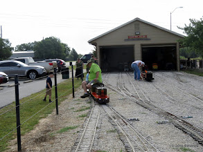 Photo: Greg Moore hooking up to three passenger cars on the left while Mike Alexander looks over Case Alexander's speeder on the right.   HALS Public Run Day  2016-0716  RPWhite
