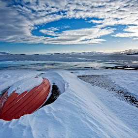 Heaven Gate by Þorsteinn Ásgeirsson - Landscapes Beaches ( clouds, mountains, sunset, ice, snow, lake, boat )