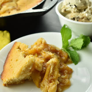 Skillet Peach Cobbler with Ginger and Star Anise.