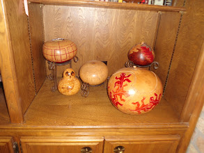 Photo: Examples of a modern gourd crafters creations.