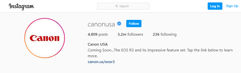 Instagram profile of Canon, a well-known photography equipment brand.