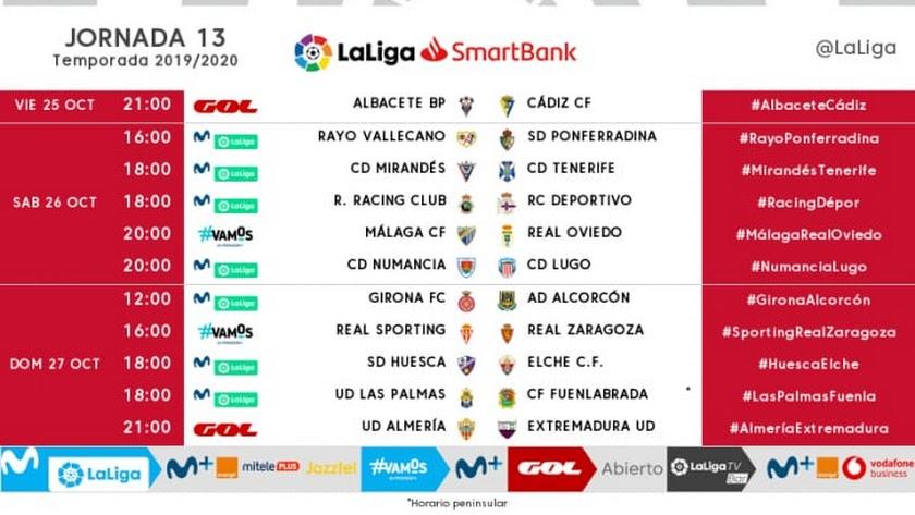 Horarios de la Jornada 13 en Segunda División.