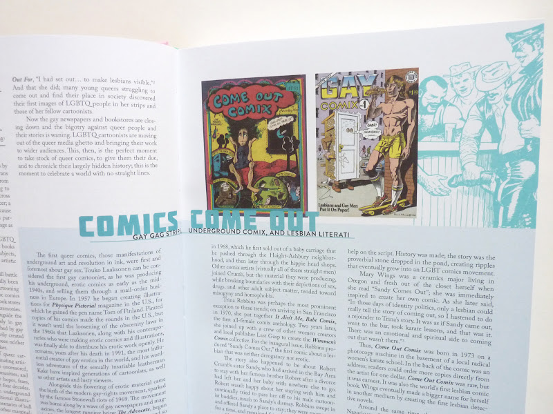 "Photo: No Straight Lines: Four Decades of Queer Comics by various artists; edited by Justin Hall  http://www.fantagraphics.com/nostraightlines  328-page black & white/color 7.75"" x 10.25"" hardcover • $35.00 ISBN: 978-1-60699-506-8 - Introduction detail."