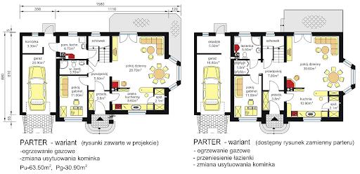 BW-03 z balkonem frontowym - Rzuty parteru - propozycja adaptacji - wersja 1 i 2