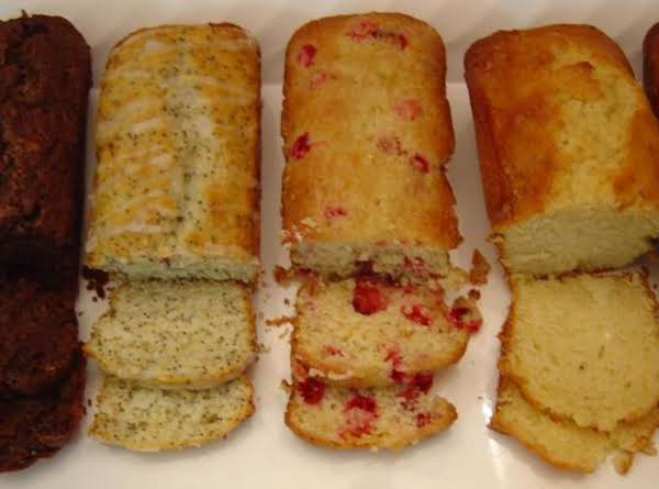 From L To R: Double Chocolate Zucchini, Lemon Poppyseed, Cranberry Orange, And Eggnog Breads.