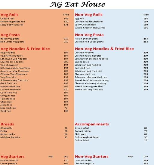 AG Eat House menu 1