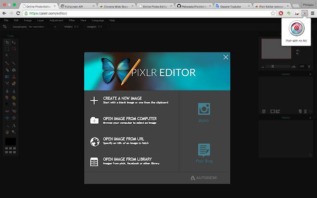 Pixlr Editor remove AD chrome extension
