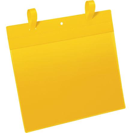 Plastficka A4L m. fästband gul