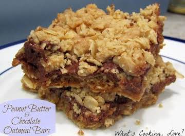 Peanut Butter and Chocolate Oatmeal Bars (Recipe adapted from Kraft Food and Family Magazine, Spring 2012)