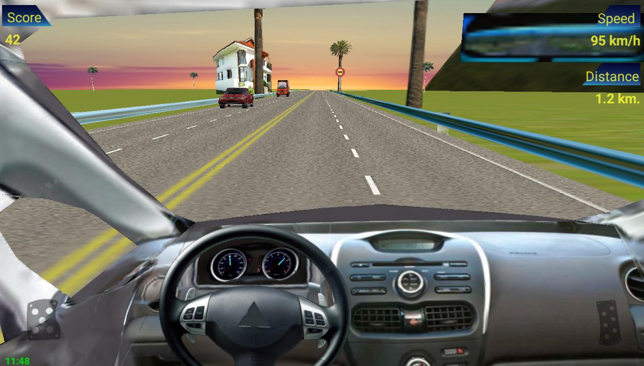 Traffic racing in car screenshot