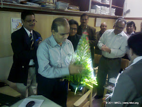 Photo: Chairman Shri. Vyas welcomes Shri. Sarangi, Additional Chief Secretary, Home Department, Government of Maharashtra  for MSHRC website launch on September 5, 2011