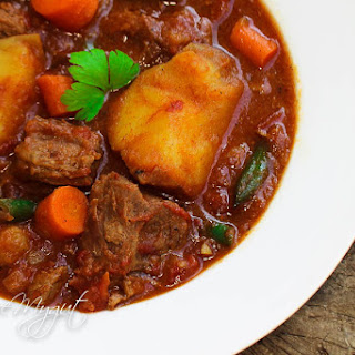 Tender Beef Stew with Potatoes and Carrots.