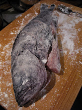 Photo: a floured cod ready for frying