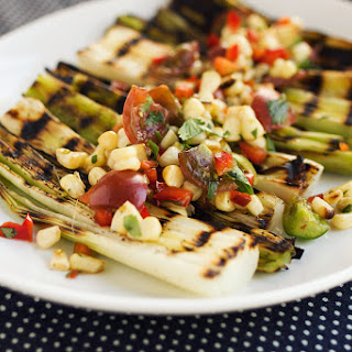 Grilled Leeks with Spicy Grilled Corn Salsa {gluten-free, vegan}