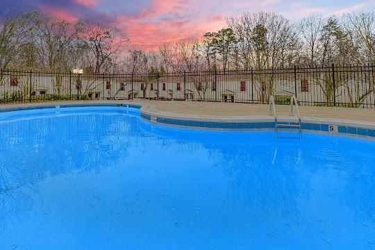 Refreshing swimming pool at dusk