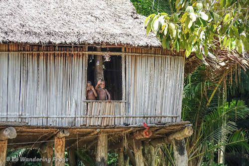 Papua. New Guinea East Sepik River Clans Crocodile Traditions. Kids in a pilotis house.
