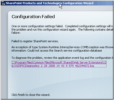Configuration Error with SharePoint Products and Technologies Configuration Wizard
