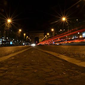 Street leading up to the Arch de Triomphe by Craig Payne - City,  Street & Park  Street Scenes ( paris, traffic, arc de triomphe, low light,  )