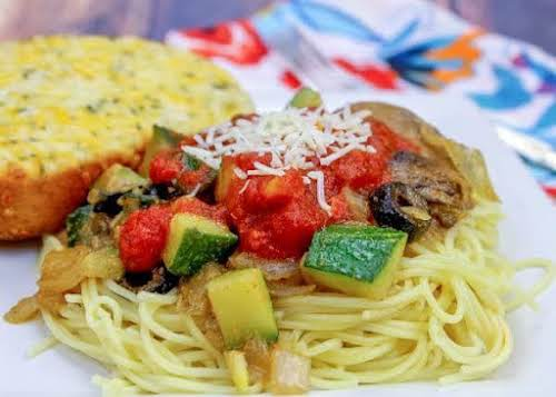 """Easy Angel Hair With Veggies """"Need an easy and flavorful pasta recipe..."""